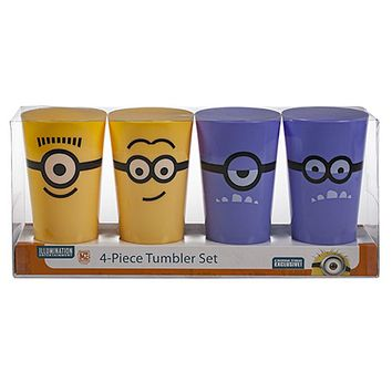 Universal Studios Despicable Me Minion Mayhem Attraction Set of 4 Tumblers New
