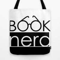 Book Nerd Logo Glasses Tote Bag by cleopetradesign.com