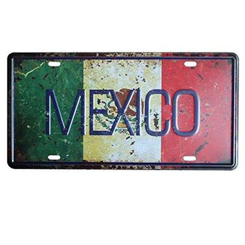 PLUMTALL Mexico Car Auto Tag Metal License Plate Vintage Home Decor Bar Pub Cafe Tin Metal Sign Art Wall Painting Plaque (6 x 12 inches)