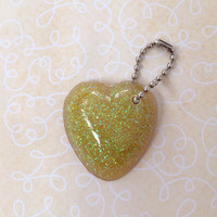 Yellow Resin Glittered Heart Keychain (1 dollar shipping)