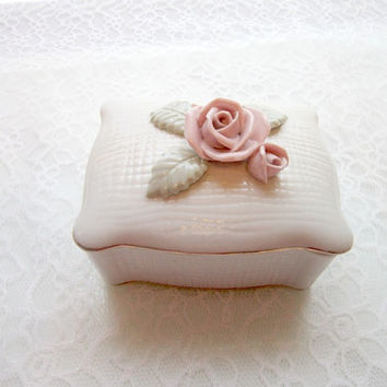 Vintage Porcelain  Rose Trinket Box White timelesspeony ring box wedding box