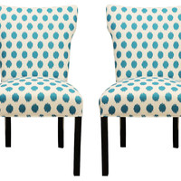 Turquoise Lauren Side Chairs, Pair, Dining Chair Sets