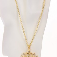 Gold Rhinestone Crown Pendent Necklace