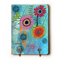 Turquoise Floral by Artist Beth Nadler Decorative Wall Hanger