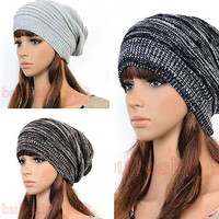 New Unisex Hip-hop Style Winter Baggy Beanie Knit Crochet Bowknot Hats 3 Color