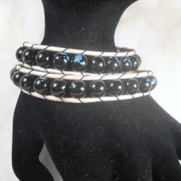 Leather Wrap Bracelet Blue Wrap Bracelet Beaded Wrap Bracelet