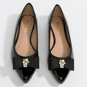 Miss KG Pearl Bow Flat Point Shoe at asos.com