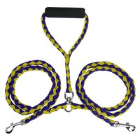 "Evelots Dual Double Dog Leash 55"" No Tangle Coupler For 2 Dogs, Purple & Yellow"