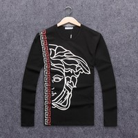 Versace Autumn Long Sleeve Tide Brand Men's Chest Classic Printed Round Collar Sweater black