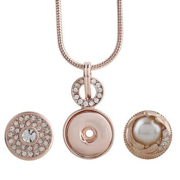 Snap Charm Rose Gold Plated Pendant Standard Snaps Includes 2 Snaps Fits Ginger Snaps
