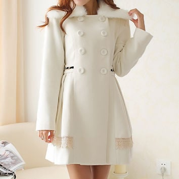 White Fur Collar Coat