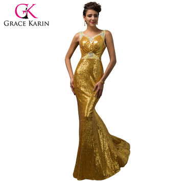 Grace Karin Mermaid Evening Dress Emerald Green Pink Golden Sequined Stunning Formal Long Party Gowns Luxury Evening Dress 2017