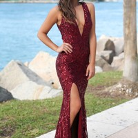 Burgundy Sequin Maxi Dress with Open Back