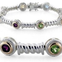 Sterling Silver and Solid 14k Gold Multi-Gemstone Vintage Style Bracelet: Jewelry: Amazon.com