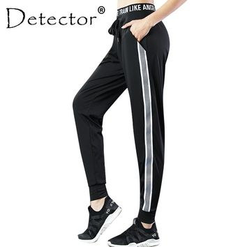 Detector Women Running Fitness Loose Pants Quick Dry Breathable Soft Pants Stripe Elastic Drawstring Trousers