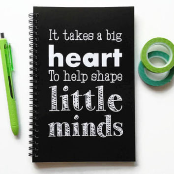 Writing journal, spiral notebook, bullet journal, black white, blank lined grid, teacher gift - It takes a big heart to shape little minds