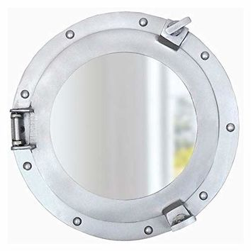 Nagina International Premium Silver Lined Aluminum Nickel Coated Nautical Ship's Porthole Window ! Maritime Wall Decor Mirror | Exclusive (24 Inches, Mirror)