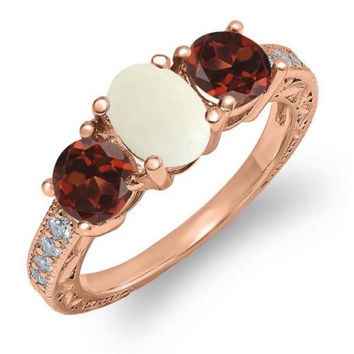 1.85 Ct Oval White Simulated Opal Red Garnet 18K Rose Gold Plated Silver Ring