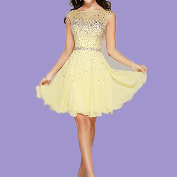 Vestido Coctel Corto Elegant Beaded Yellow Cocktail Dresses Short Chiffon Cocktail Dress Party Dresses 2016 Robe De Cocktail