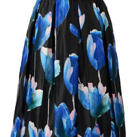 Black High Waist Midi Skirt With Blue Floral Print