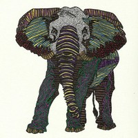 Technicolor Baby Elephant - Marker Art Art Print by BrickHouseArt | Society6