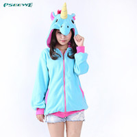 New Novelty Women Hoodies Fashion Cartoon unicorn Sweatshirts Tracksuits Women gardigan hoodies Girl Winter cute Hooded Jacket