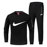 NIKE Woman Men Fashion Zipper Top Sweater Pullover Pants Trousers Set Two-Piece