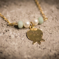 Pomegranate necklace, Gold Pomegranate  ,pearl necklace, amazonite stone, Pomegranate pendant, Gold Pomegranate charm, gold filled necklace,