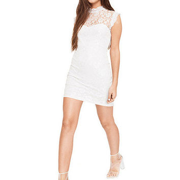 Floral Lace Sleeveless Backless Mini Bodycon Dress