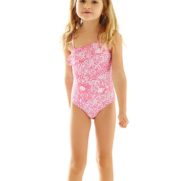 Lilly Pulitzer Girls Kiawah One-Shoulder Swimsuit