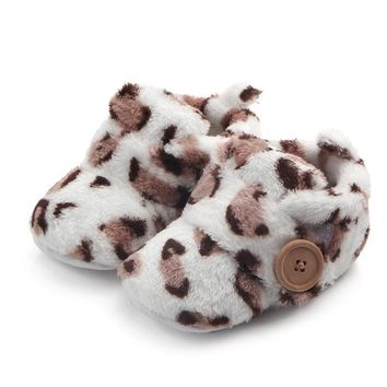 Winter Baby Toddler Shoes Booties Round Toe Flats Soft Slippers Leopard Print