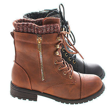 Bally6k Young Girl/Children's Military Inspired Tactical Lace Up Combat Boots