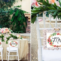 Mr. & Mrs. Wedding Chair Chalk Signs - Watercolor Floral Wreath - DIGITAL FILES Print at Home!