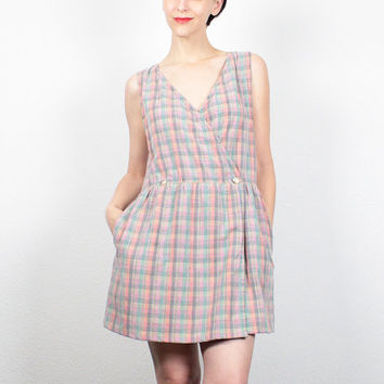 Vintage 80s Dress Pink Plaid Mini Dress Wrap Dress Preppy Dress Pinafore Jumper Eddie Bauer Dress Overalls 1980s Dress M Medium L Large