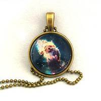 10% SALE Necklace Young Stars Flare In The Carina Nebula Galaxy Jewelry Universe Space Pendant Copper Necklaces Gift