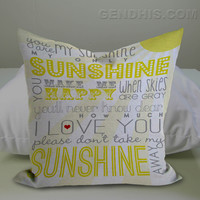 You Are My Sunshine Quote Pillow Case, Pillow Cover, Custom Pillow Case