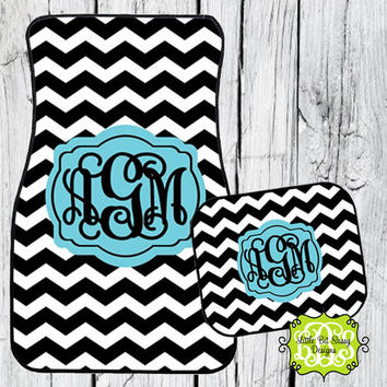Car Mats Chevron Personalized Monogrammed Floor Car Mat Initial Turquoise Black