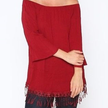 Eliza Bella Off Shoulder Bell Sleeve Tunic Top with Fringe Detail 1X, 2X, 3X