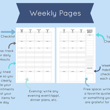 a5 Planner Kit, a5 inserts, a5 weekly planner inserts, weekly planner printable half letter, monthly calendar, project pages, 2017-2018