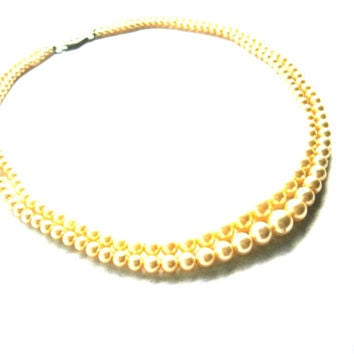 SALE  Double Strand Graduate Simulated Pearl Necklace