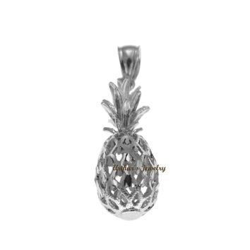 SOLID 14K WHITE GOLD 3D HAWAIIAN DIAMOND CUT PINEAPPLE CHARM PENDANT 9.2MM