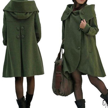dark green cloak wool coat Hooded Cape women Winter wool coat