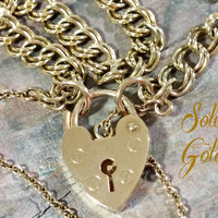 Vintage 9ct 9k Gold Charm Bracelet Chain Starter Heart Padlock Clasp UK Hallmarks 375 Solid Gold 7 Inch Chain Add Charms or Wear As Is Fun!