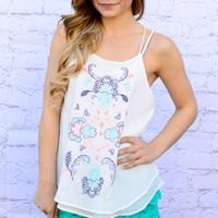 PLAYING WITH WATER COLORS CHIFFON TANK