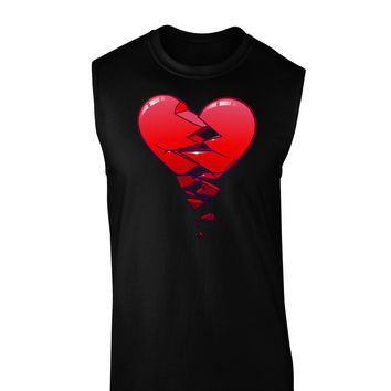 Crumbling Broken Heart Dark Muscle Shirt by