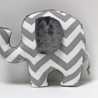 Chevron Elephant nursery pillow toy ELLE gray plush by LilKingdom