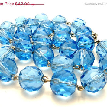 40% Off Blue Glass, Bead Necklace, Sterling Silver, Rockabilly, Vintage Jewelry, Faceted Beads, Wedding Jewellery
