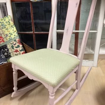 Soft pink antique / vintage rocking chair