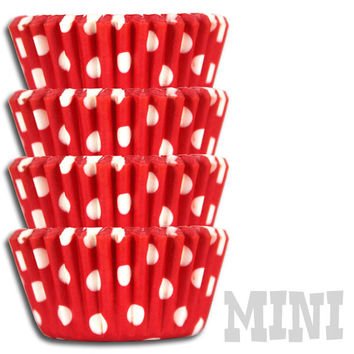 Mini Red Polka Dot Baking Cups