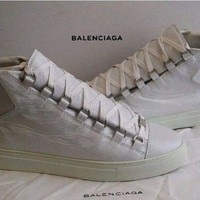 Authentic Balenciaga Men's 'arena' Leather High Top Sneakers Size Eu 41 Rrp $860 - Beauty Ticks